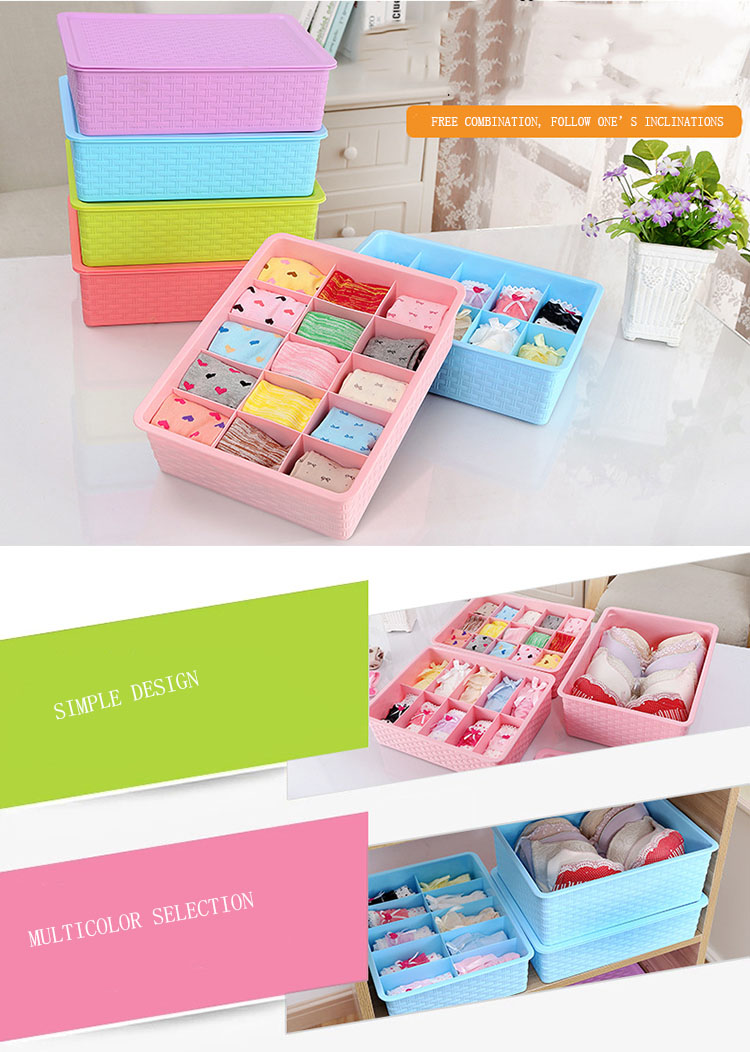 15 Grid Plastic Underwear Storage Box for Socks Organizer with Cover Metis B6002-3