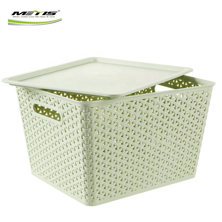 Hot sale laundry plastic storage basket box with lid