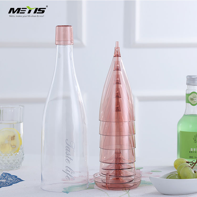 Personalized plastic funky wine glasses bottle set cheap