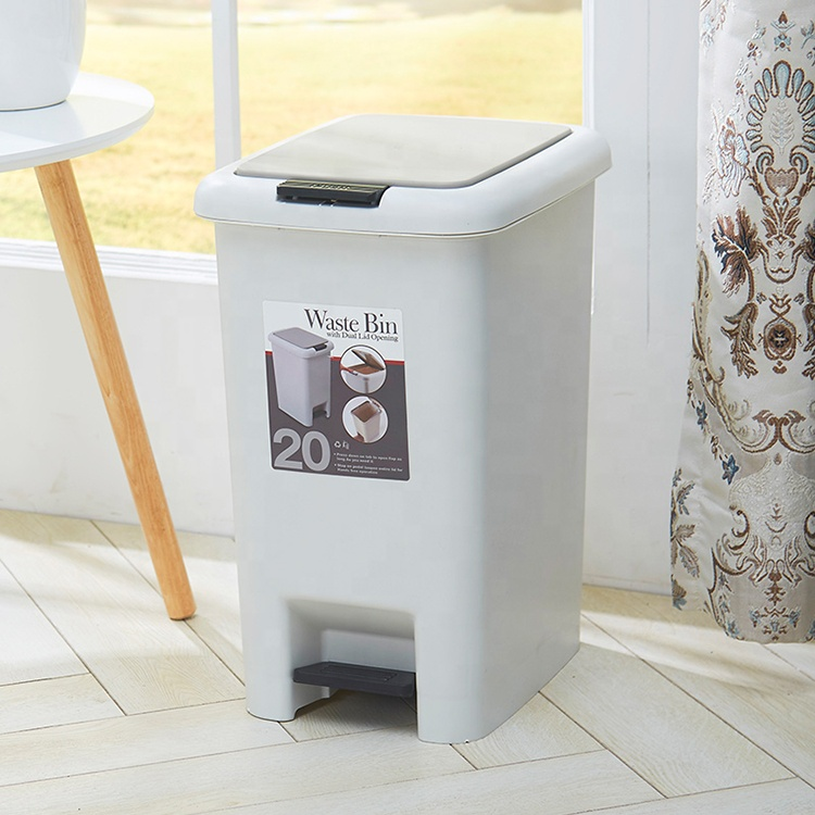 20L Pedal Trash Can Plastic Pressing Type Trash Can Metis B1009-3