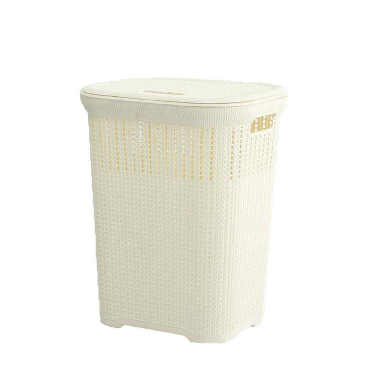 woven plastic bamboo storage boxs Super Big 50L Laundry Basket with Lid