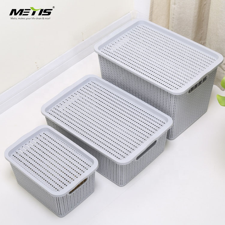 Custom Colorful And Durable Weaving Hollow Clothing Storage Box With Hard Lid