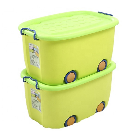 Durable colorful four-wheel doll and toy chest large storage box with lid