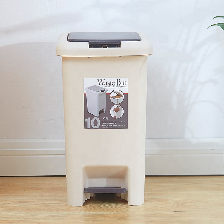 China Wholesale Plastic Dustbin Pedal Trash Can Step on Wastebasket