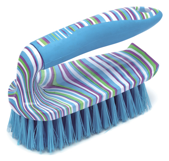 Laundry brush with tpr softer grip in plastic