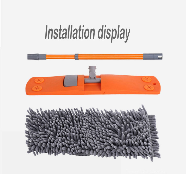 The 360 rotatable microfiber broom head is equipped with a stainless steel telescopic rod