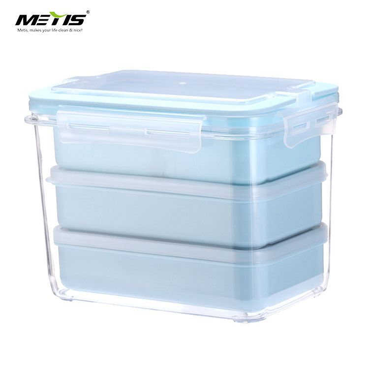 Metis A4009 Lunch Box Microwavable Meal Prep Containers 3 Parts Plastic Divided Food Storage Container Boxes for Kids Adult