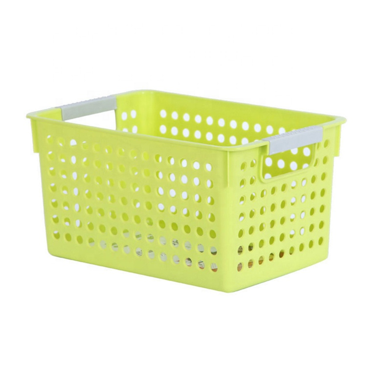 Manufacturer wholesale price high quality plastic household clothing/sundries/fruit storage basket handle
