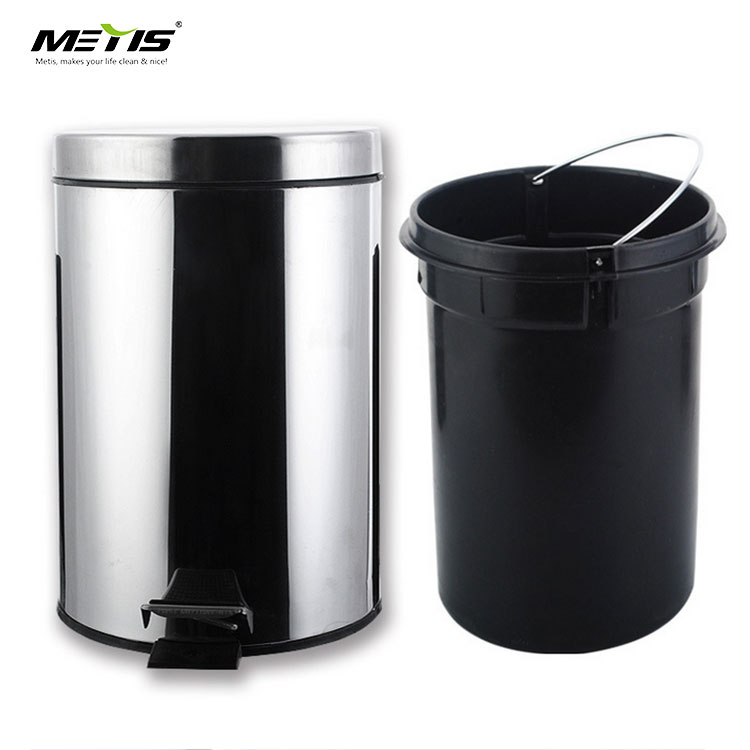 Amazon Hot Sale Indoor Stainless Steel Trash Can Pedal Waste Bin Round Garbage Bin