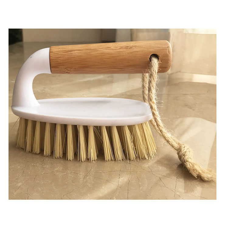 Wholesale price factory direct bamboo handle plastic brush laundry brush for laundry and home use