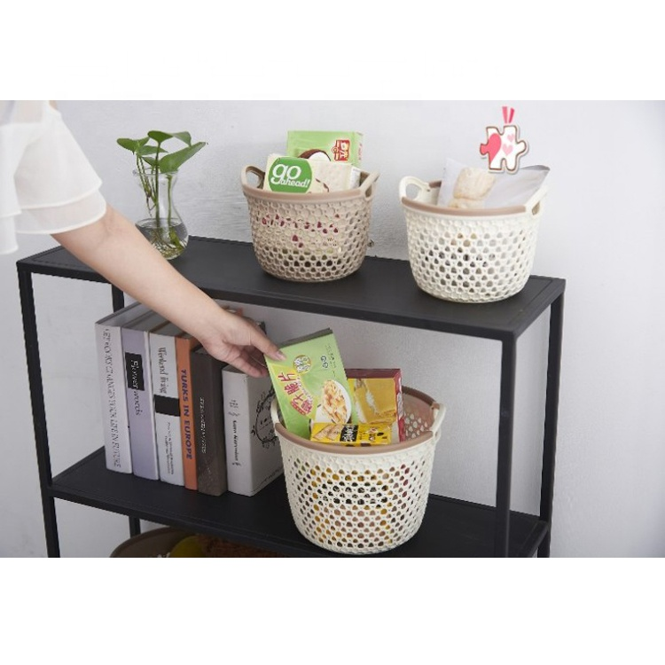 Interdesign All Purpose Wicker Baskets Standing Bucket PP Storage Basket in White
