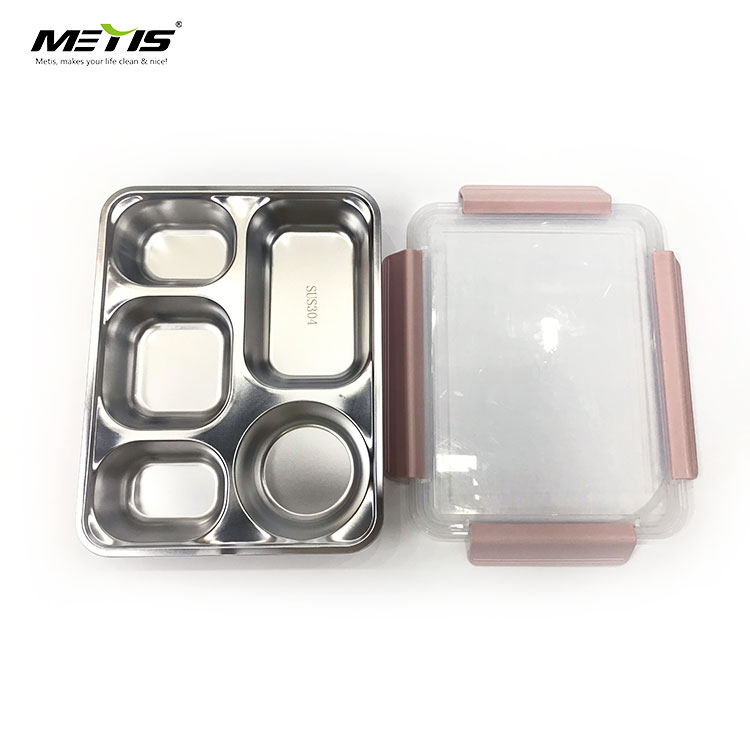 METIS high quality 5 Compartments Microwave Stainless steel Food Container