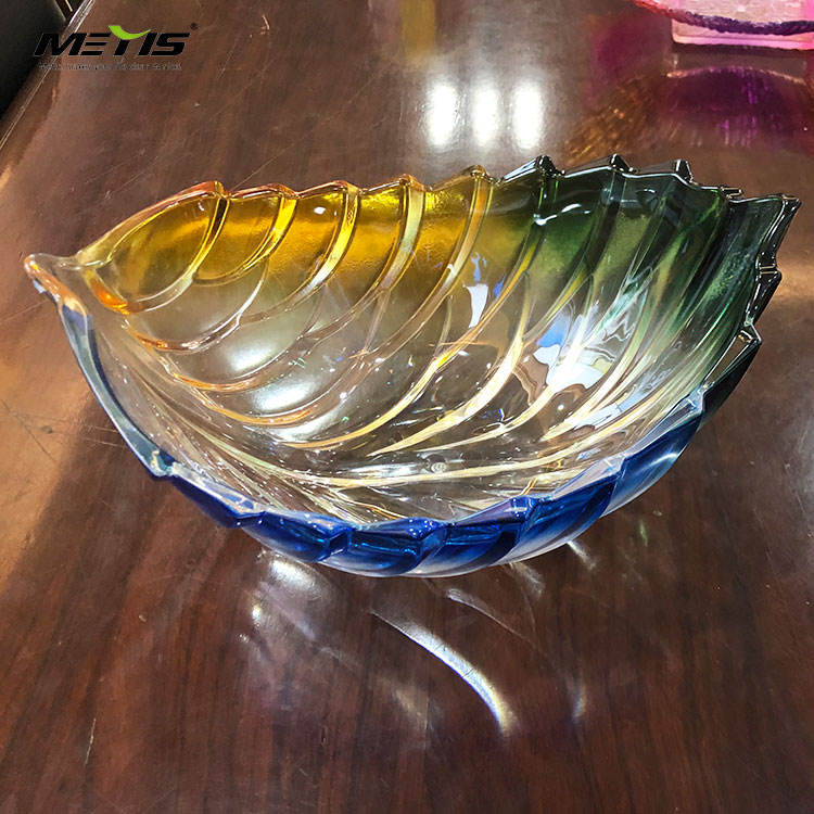 Green Leaf Shape Fruit Plate Breaking Resistant A4054-1 crystal plastic fruit bowl