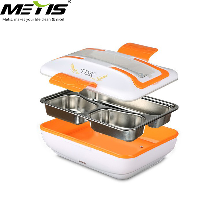 Portable Meal Heater Food Warmer Stainless Steel Plug Heating Food Container Leak-Proof Electric Food Boxes for Home Office Use