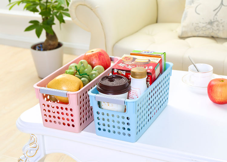 Bathroom Rectangle Plastic Food Fruit Storage Basket