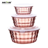 Durable and easy clear transparent Plastic food container set round bento box with lock lid