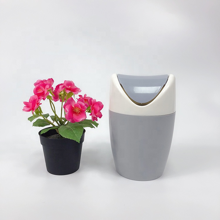 Round design small desk bin with swing lid