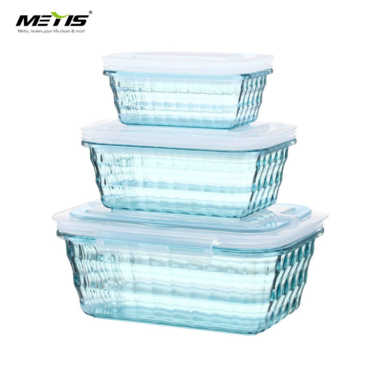 BPA free FDA/LFGB safe 800-1000 ml clear plastic crisper food container lunch box with lid