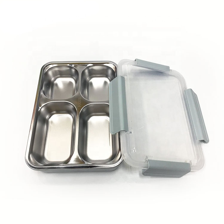 Leakproof separation 4 grids stainless steel lunch box with seal ring