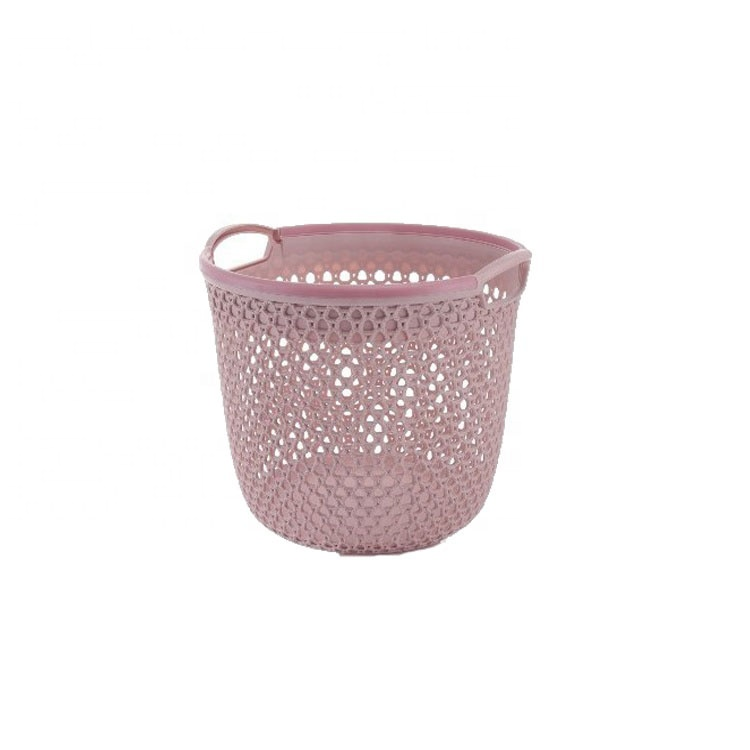 Portable high quality rattan round plastic storage basket With Holes